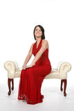 Adolescente feliz no vestido vermelho Fotografia de Stock