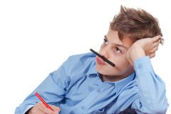 Adolescente feliz Os lápis sujam em casa Maneira engraçada de ter o divertimento Imagem de Stock Royalty Free