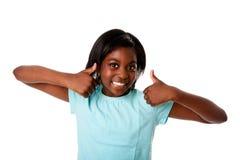 Adolescente feliz - pulgares para arriba foto de archivo libre de regalías