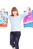 Adolescente feliz, que hace compras Imagen de archivo libre de regalías