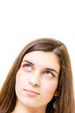Adolescente feliz que olha acima no copyspace Fotografia de Stock