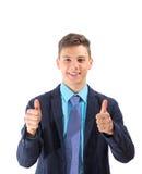 Adolescente feliz que señala MUY BIEN con sus manos aisladas Imagen de archivo