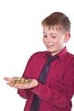 Adolescente feliz que sostiene el dinero Imagen de archivo