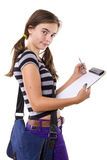 Adolescente femenino con el cuaderno de notas Imagen de archivo