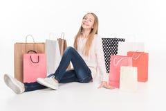 Adolescente femenino con los panieres Imagen de archivo libre de regalías