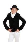 Adolescente femenino de risa en la ropa del invierno Fotografía de archivo
