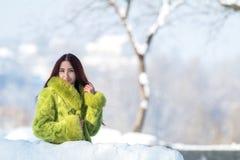Adolescente femenino del pelirrojo en el parque soleado de la ciudad del invierno Fotografía de archivo libre de regalías