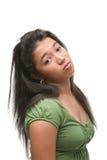 Adolescente femenino en mán humor Imagenes de archivo