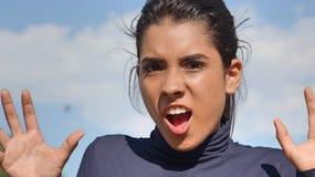 Adolescente femenino hispánico sorprendido Imagenes de archivo