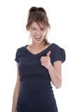 Adolescente femenino que anima potente aislado en blanco. Imagen de archivo libre de regalías