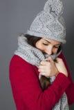Adolescente femenino que sonríe, envolviéndose en bufanda acogedora caliente del invierno Fotos de archivo libres de regalías