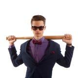 Adolescente formal con el bate de béisbol Foto de archivo libre de regalías