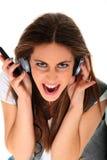 Adolescente fresco que escucha la música y el baile Fotos de archivo libres de regalías