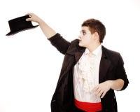 Adolescente gordo vestido como vampiro para Víspera de Todos los Santos Imagenes de archivo
