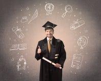 Adolescente graduado feliz com ícones tirados mão da escola Fotografia de Stock