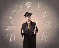 Adolescente graduado feliz com ícones tirados mão da escola Foto de Stock