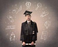 Adolescente graduado feliz con los iconos dibujados mano de la escuela Imagen de archivo libre de regalías