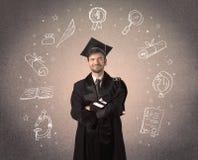 Adolescente graduado feliz con los iconos dibujados mano de la escuela Imágenes de archivo libres de regalías