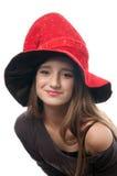 Adolescente grazioso in costume delle streghe Fotografia Stock