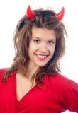 Adolescente grazioso nel costume dei diavoli Fotografie Stock
