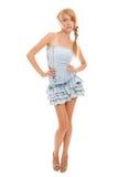 Adolescente hermoso brillante en alineada azul Fotos de archivo libres de regalías