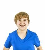 Adolescente hermoso con el azul Foto de archivo