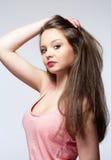 Adolescente hermoso con el pelo largo de Brown Fotografía de archivo libre de regalías