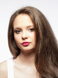 Adolescente hermoso con el pelo largo de Brown Imagenes de archivo
