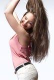 Adolescente hermoso con el pelo largo de Brown Foto de archivo libre de regalías