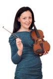 Adolescente hermoso con el retrato del violín Imágenes de archivo libres de regalías