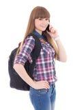Adolescente hermoso con el teléfono móvil aislado en blanco Imagen de archivo libre de regalías