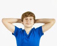Adolescente hermoso con la camisa azul Imagenes de archivo