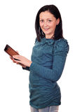 Adolescente hermoso con PC de la tablilla Foto de archivo