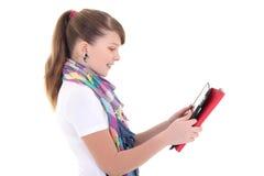 Adolescente hermoso con PC de la tablilla Fotografía de archivo