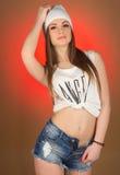 Adolescente hermoso de la muchacha en la cabeza Fotografía de archivo