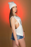 Adolescente hermoso de la muchacha en la cabeza Imagen de archivo libre de regalías