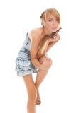 Adolescente hermoso del retrato del primer en alineada azul Imagen de archivo