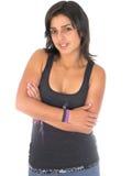 Adolescente hermoso en alineada negra Imagenes de archivo