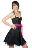 Adolescente hermoso en alineada negra Fotografía de archivo libre de regalías