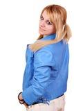 Adolescente hermoso en chaqueta azul Imagenes de archivo