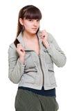 Adolescente hermoso en la chaqueta gris Imagenes de archivo
