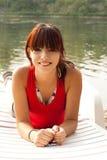 adolescente hermoso que goza de la playa Imagen de archivo