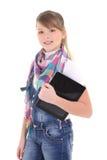 Adolescente hermoso que sostiene la PC de la tablilla sobre blanco Fotografía de archivo libre de regalías
