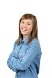 Adolescente hermoso sonriente con el pelo marrón largo Imagenes de archivo