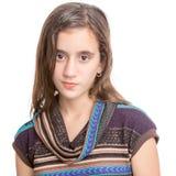 Adolescente hispánico de moda aislado en blanco Imagenes de archivo