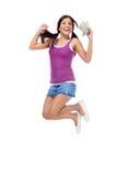 Adolescente hispánico del estudiante universitario con el salto del womey Fotos de archivo libres de regalías