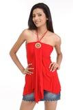Adolescente indio con sin mangas rojo Imagen de archivo libre de regalías