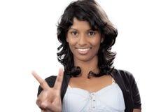 Adolescente indio en el fondo blanco Imagenes de archivo