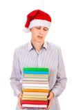 Adolescente infastidito con i libri Fotografie Stock