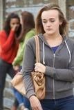 Adolescente infeliz que está sendo bisbilhotado aproximadamente por pares imagens de stock royalty free